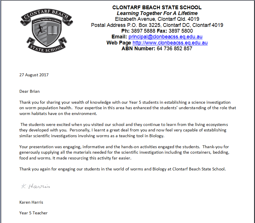 Worm Farming Lesson - Letter Of Appreciation - Clontarf Beach State School