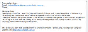 Worm Farm Bait Testimonial Adam Jones