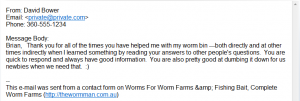 Worm Farm Bait Testimonial David Bower